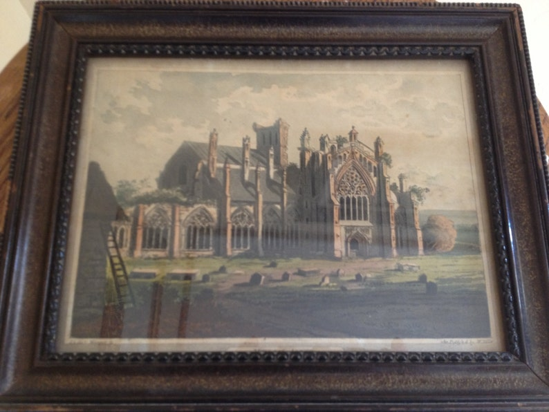 Scottland Published by William Miller 1801-Hand Colored Framed Antique engraving Melrose Abbey