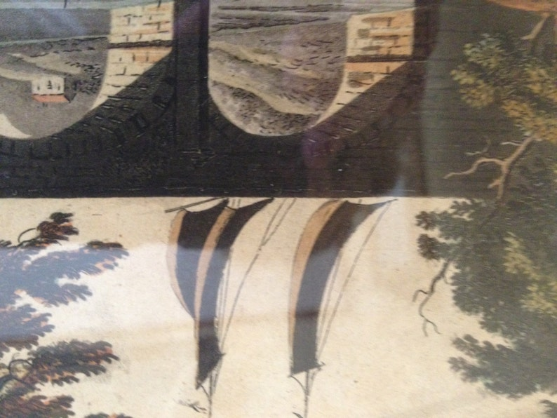 William Miller 1801-Hand Colored Framed Antique 1801 engravingThe Aqueduct Bridge Scottland Published by John Claude Nattes