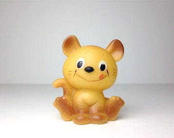 Soviet Rubber Toy / The Cat / Yellow / USSR 80s