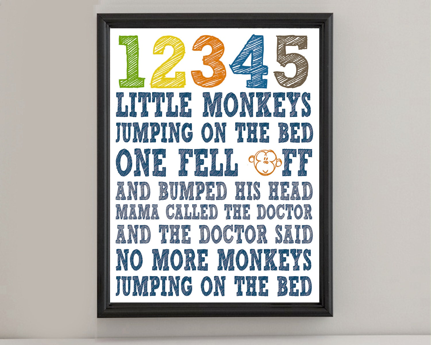 Instant Digital Download No More Monkeys Jumping On The Bed