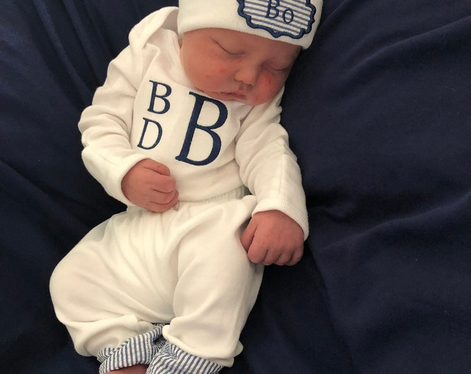 Baby Boy Coming Home Outfit Monogram Bodysuit Pants with Seersucker cuff Newborn Hat Coming Home from Hospital Newborn Boy Outfit
