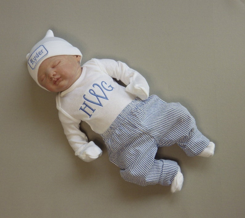 cd4c21eda Baby Boy Coming Home from the Hospital. Monogram Bodysuit.