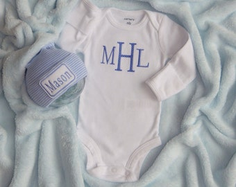 Newborn Boy Monogram Bodysuit and Newborn Hospital Hat. Newborn Boy Going Home
