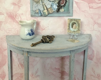 Dollhouse Miniature 1:12 OOAK Side Table and Accessories - Artisan Hand Crafted