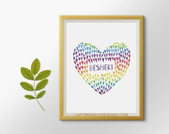 Jewish Art, Jewish Wedding Gift, Jewish Baby Gift, Beshert, Bashert, Meant to Be, Destiny, Judaica, Jewish Printable, True Love Gift