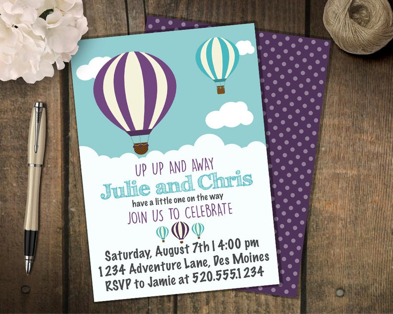 Hot Air Balloon Baby Shower Invitation Adventure Baby Shower Etsy