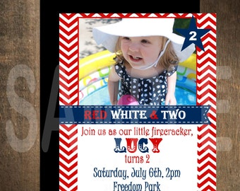 Red, White and TWO Fireworks Invitation, 4th of July Invitation, 4th of July Party, 4th of July Birthday Invitation, 4th of July celebration