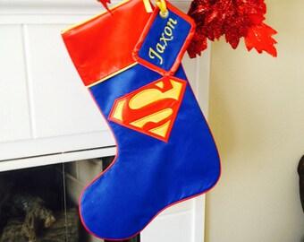 Large Customized Superman Christmas Stocking