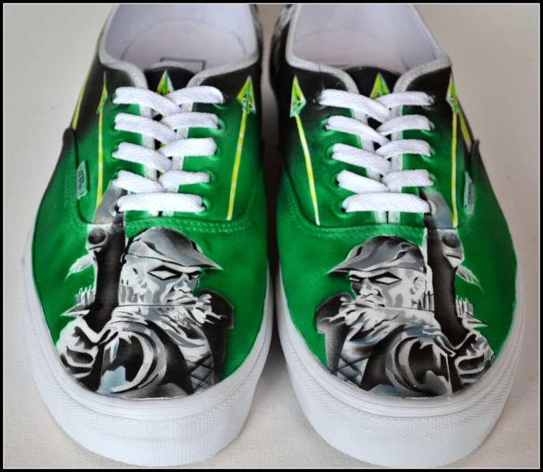 c1992f29afd5 Green Arrow Sneakers Mens Vans Hand Painted Shoes for Men