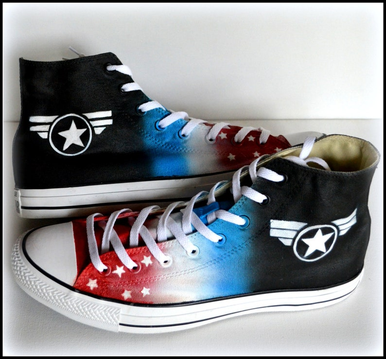 ea10ce6e7ded Custom Painted Mens Converse Size 12 Shoes Captain America