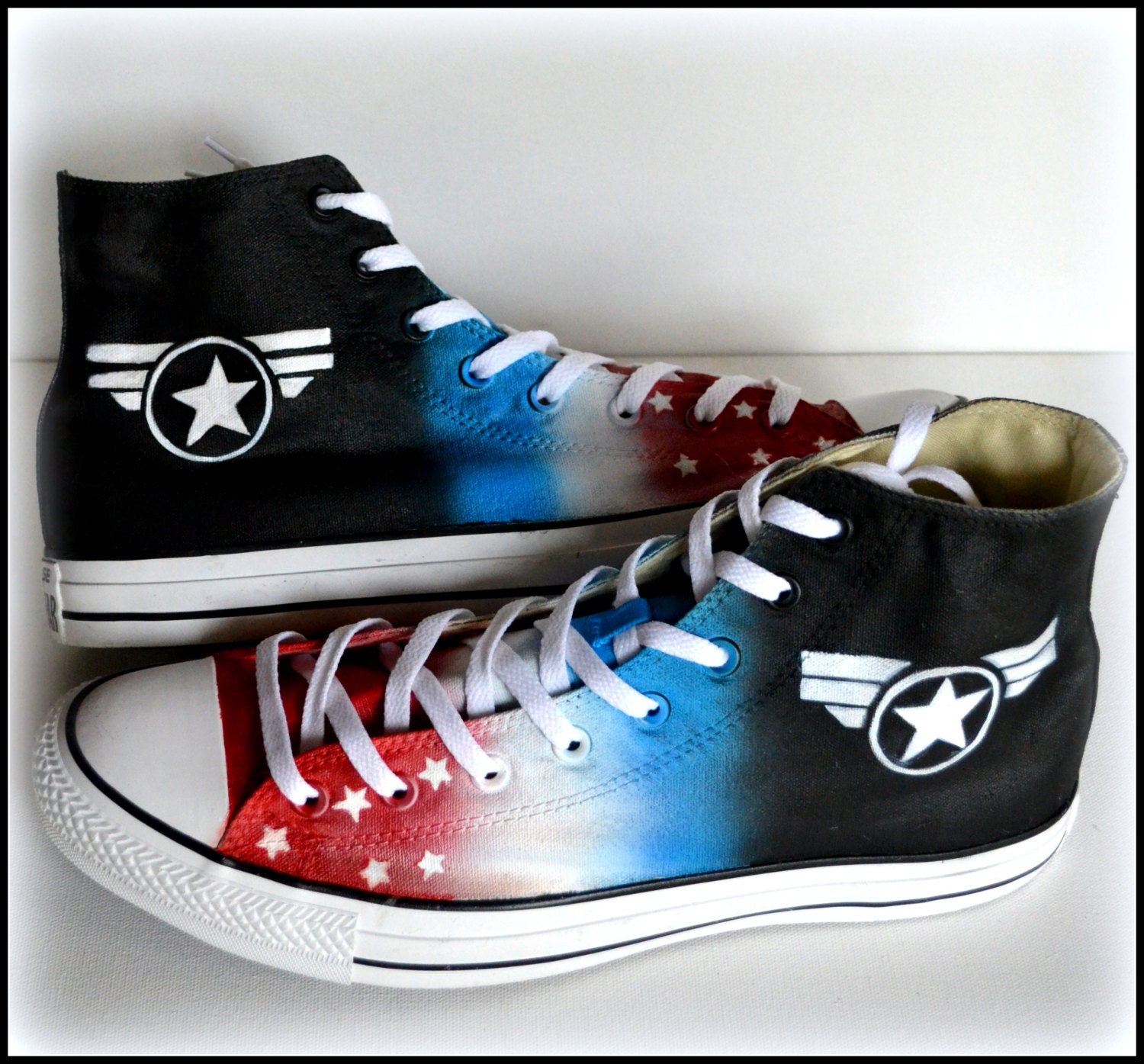 2729944bca9e Custom Painted Mens Converse Size 12 Shoes Captain America