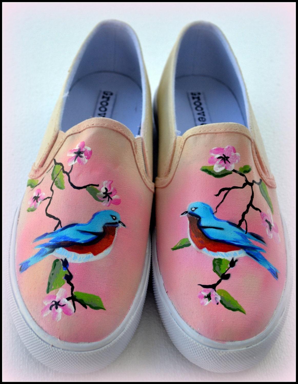 0ab6dabb685 Womens Painted Shoes Custom Painted Womens Shoes Bluebirds
