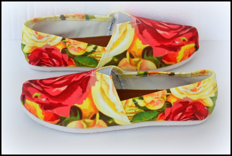 dcb3a0361359d Flower Shoes, Size 6 Slip On Shoes, Size 7 Toms Style Shoes, Womens Canvas  Shoes, Gifts for Tween, Gifts for Teens