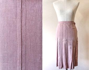 522b2e007 Vintage pleated skirt // vintage dusty pink skirt // vintage pencil skirt