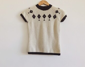 200111e5a03 nordic sweater    short sleeve sweater    cozy knit jumper    vintage  sweater    short sleeve knit