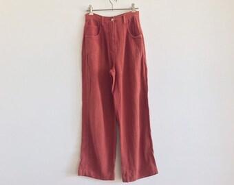 2cf371049ec 90s 00s pants    vintage coral pants    vintage pink pants    slouchy  washed red pants