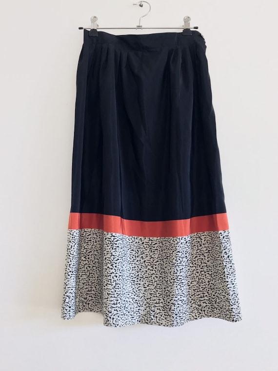 vintage black skirt // coral skirt // vintage mid… - image 2