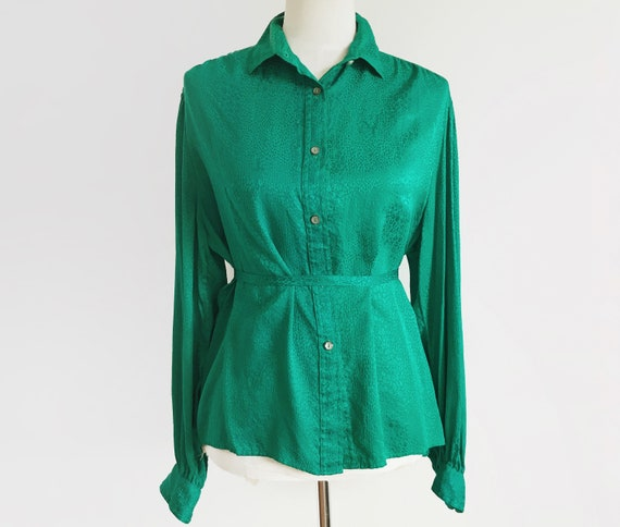 Vintage Emerald Green Blouse Vtg Green Top 80s To… - image 2