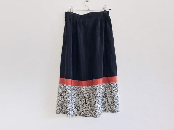 vintage black skirt // coral skirt // vintage midi