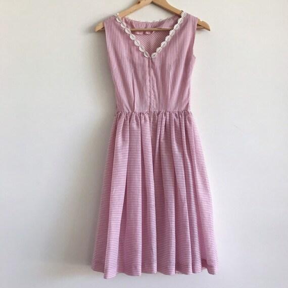 Vintage gingham 50s 60s pink dress / vintage pink… - image 3