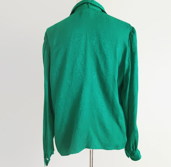 Vintage Emerald Green Blouse Vtg Green Top 80s To… - image 4