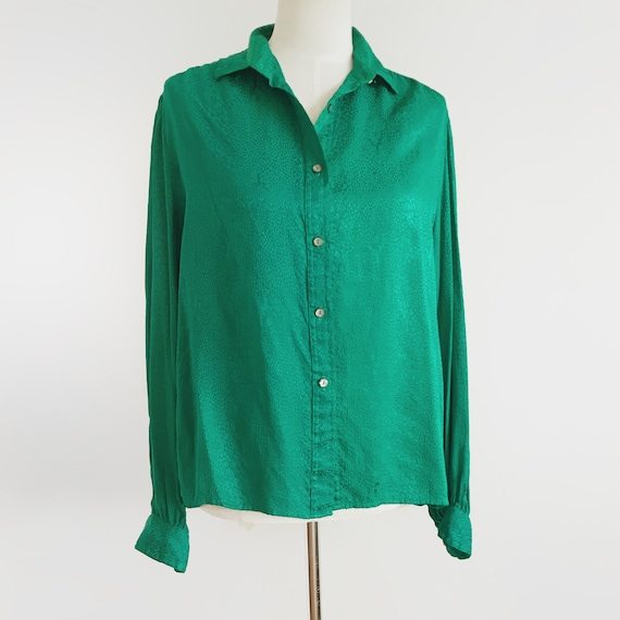 Vintage Emerald Green Blouse Vtg Green Top 80s To… - image 5