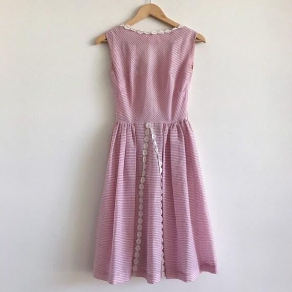 Vintage gingham 50s 60s pink dress / vintage pink… - image 2