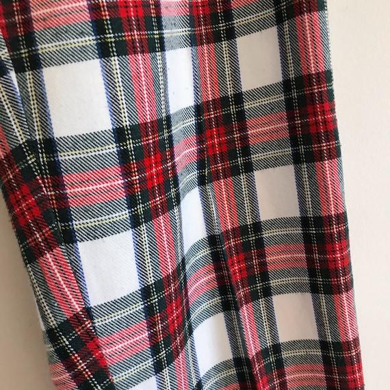vintage high waist tartan red white green check p… - image 7