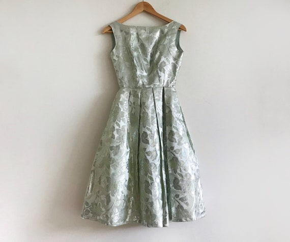 vintage 1950s jeanne de campo mint green brocade f