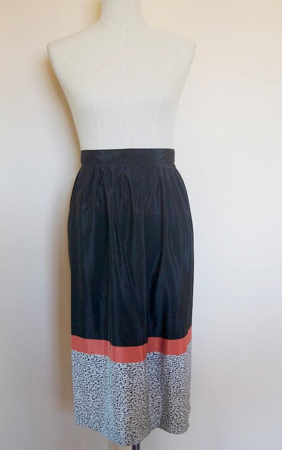 vintage black skirt // coral skirt // vintage mid… - image 5
