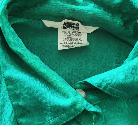 Vintage Emerald Green Blouse Vtg Green Top 80s To… - image 10