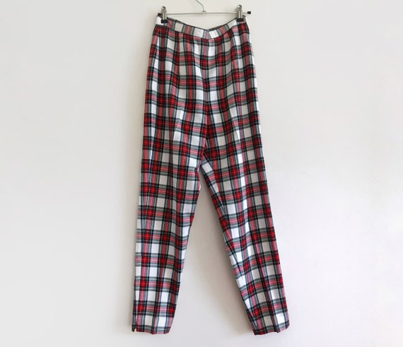 Checkered pants RETRO Black trousers retro tapered leg vintage hipster L Large