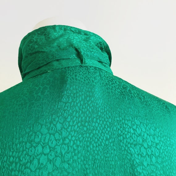 Vintage Emerald Green Blouse Vtg Green Top 80s To… - image 3