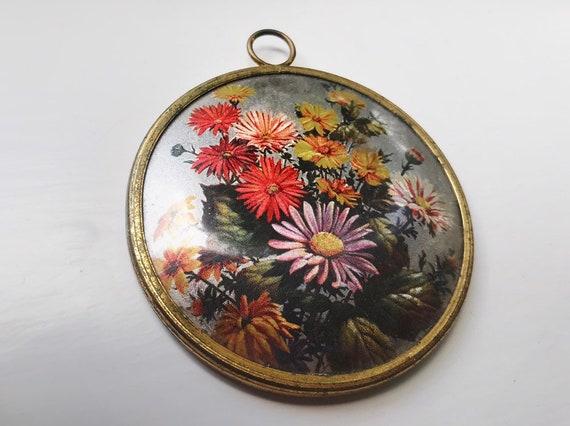 vintage compact mirror // vintage floral mirror //