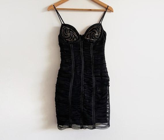 vintage 90s 80s beaded black ruched dress lbd stra