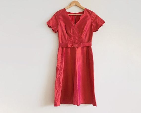Vintage Orange Pink iridescent dress // 60s irides
