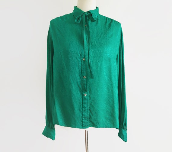 Vintage Emerald Green Blouse Vtg Green Top 80s Top