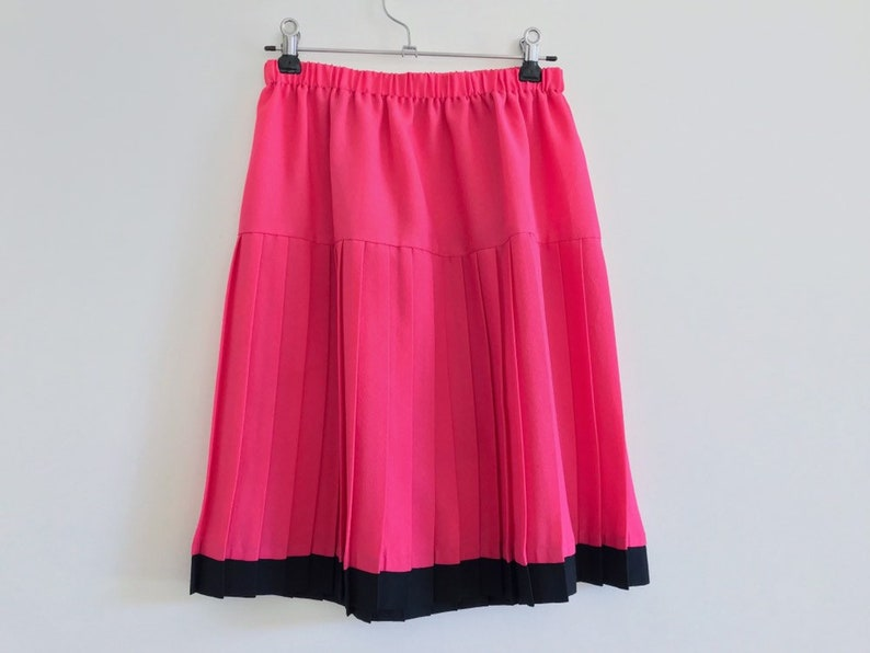 e2267813e Pink neon skirt // BRIGHT hot pink // pleated vintage skirt | Etsy