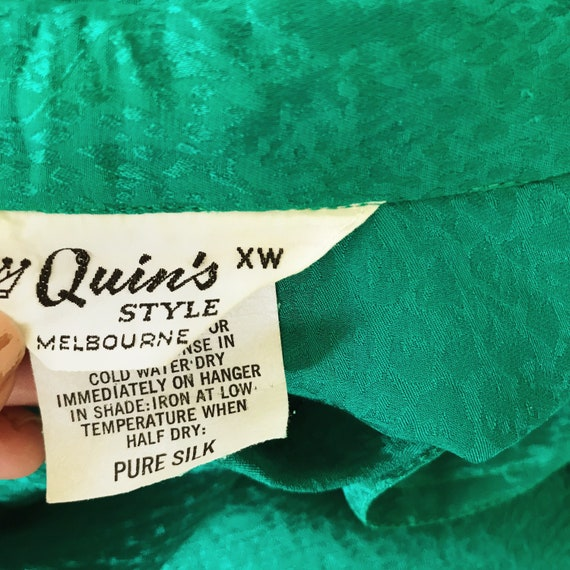Vintage Emerald Green Blouse Vtg Green Top 80s To… - image 8