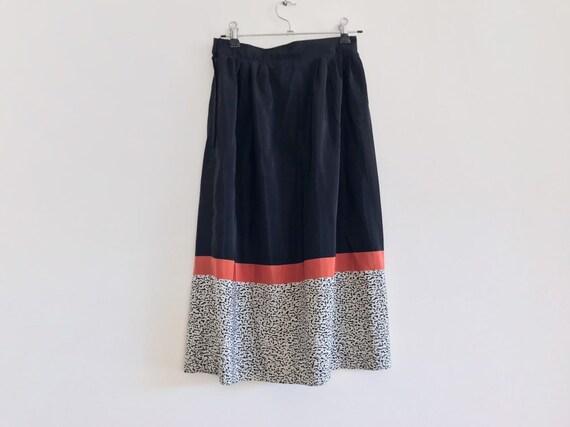 vintage black skirt // coral skirt // vintage mid… - image 4