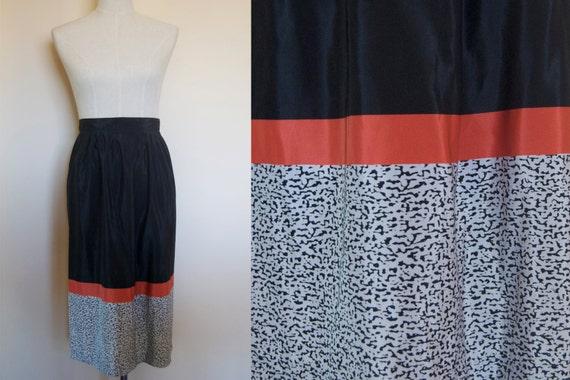 vintage black skirt // coral skirt // vintage mid… - image 3