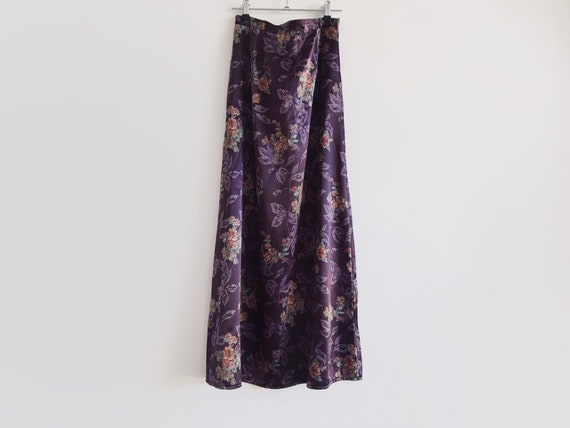 Purple satin maxi skirt // vintage 90s satin skirt