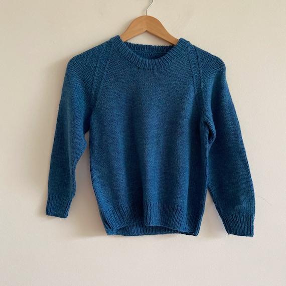 vintage 80s 90s knit jumper blue sweater top knit
