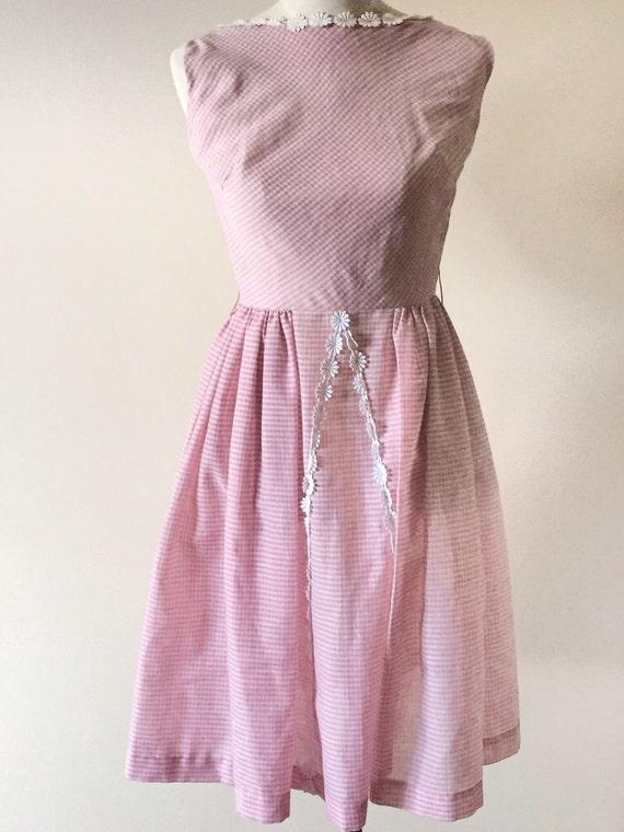 Vintage gingham 50s 60s pink dress / vintage pink… - image 5