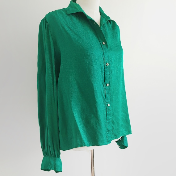 Vintage Emerald Green Blouse Vtg Green Top 80s To… - image 7