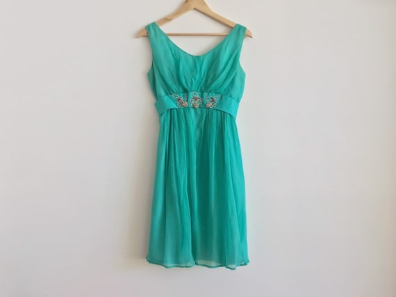 jade green bridesmaids dress //  60s cocktail dres