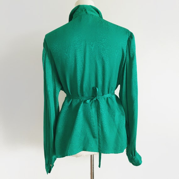 Vintage Emerald Green Blouse Vtg Green Top 80s To… - image 9
