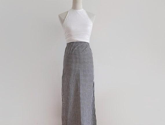vintage black and white gingham check halter maxi