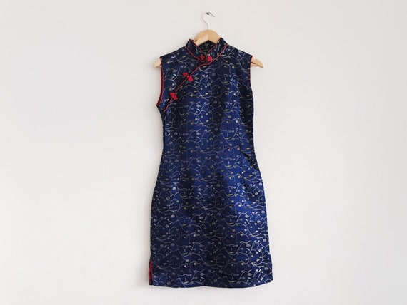 Vintage chinoiserie dress / Vintage 90s 1990s Chin