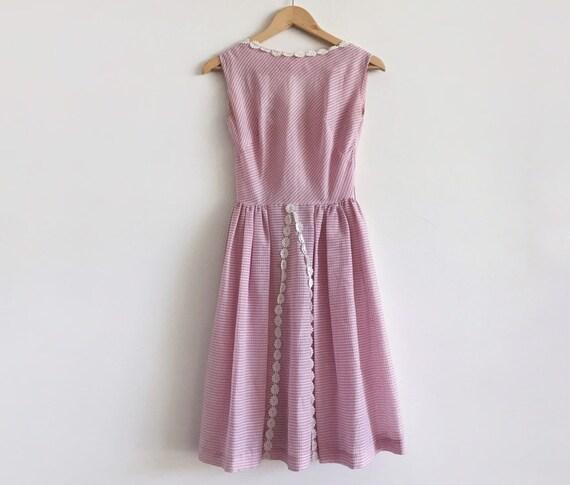 Vintage gingham 50s 60s pink dress / vintage pink… - image 1